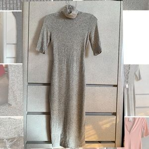 Long sleeved gray midi dress with open back